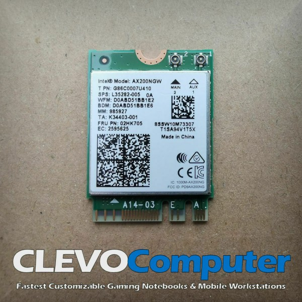 Intel Wi-Fi 6 AX200 without vPro, 2.4GHz/5GHz WLAN, Bluetooth 5.1, M.2/A-E-Key