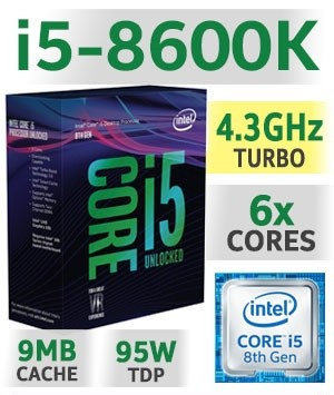 Intel Core i5-8600K Unlocked | 3.60~4.30GHz | 9MB Cache | 6C/6T | TDP 95W