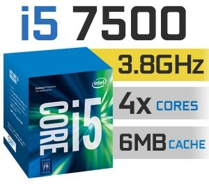 Intel Core i5-7500 | 3.40~3.80GHz | 6MB Cache | 4C/4T | TDP 65W