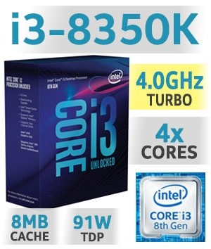 Intel Core i3-8350K Unlocked | 4,00GHz | 8MB Cache | 4C/4T | TDP 91W