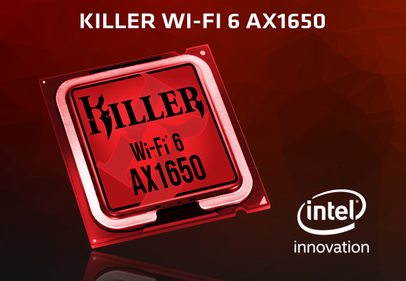 Rivet Networks Killer Wi-Fi 6 AX1650x, 2.4GHz/5GHz WLAN, Bluetooth 5.1, M.2/A-E-Key (KILLER1650X.01)