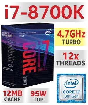 Intel Core i7-8700K Unlocked | 3.70~4,70GHz | 12MB Cache | 6C/12T | TDP 95W