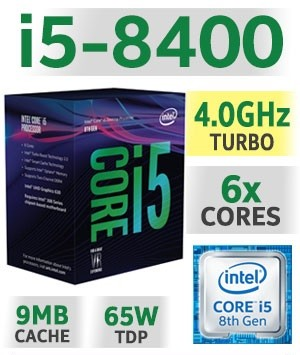 Intel Core i5-8400 | 2.80~4.00GHz | 9MB Cache | 6C/6T | TDP 65W