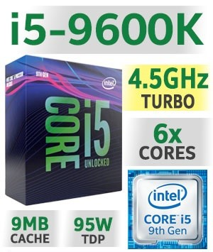 Intel Core i5-9600K Unlocked | 9MB Cache | 3 70~4 50GHz | 6C/6T | TDP 95W