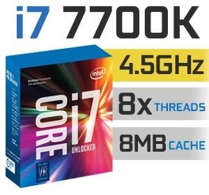 Intel Core i7-7700K Unlocked | 4.20~4,50GHz | 8MB Cache | 4C/8T | TDP 91W