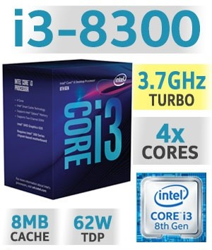 Intel Core i3-8300 | 3,70GHz | 8MB Cache | 4C/4T | TDP 62W