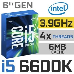Intel Core i5-6600K Unlocked | 3.50~3.90GHz | 6MB Cache | 4C/4T | TDP 91W