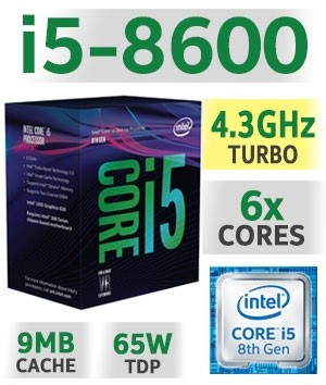 Intel Core i5-8600 | 3.10~4,30GHz | 9MB Cache | 6C/6T | TDP 65W