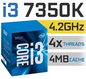 Intel Core i3-7350K Unlocked | 4,20GHz | 4MB Cache | 2C/4T | TDP 60W