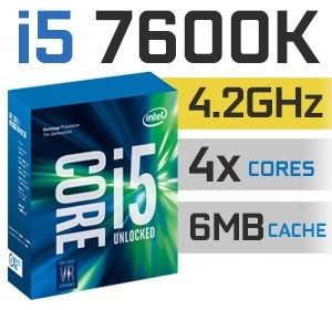 Intel Core i5-7600K Unlocked | 3.80~4,20GHz | 6MB Cache | 4C/4T | TDP 91W
